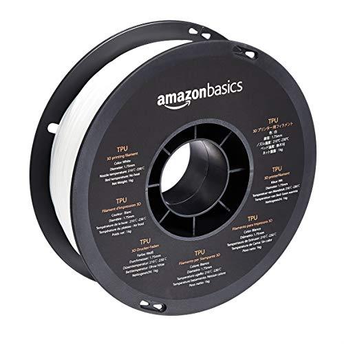 Amazon Basics - Filamento per stampanti 3D, in poliuretano termoplastico (TPU), 1,75 mm, bianco, bobina da 1 kg