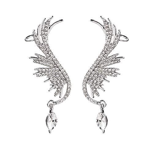 HTGL Pendientes De Diamantes Brillantes con Forma De ala Exagerada De Aguja De Plata 925 Pendientes De BotóN Largos Personalizados para Mujer
