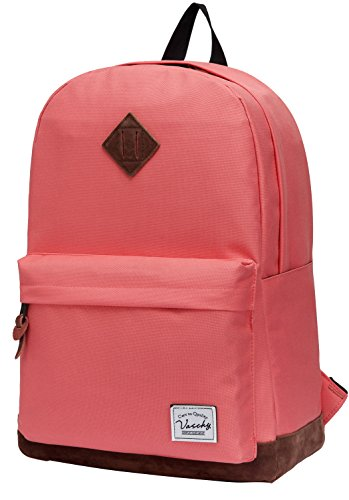 Vaschy Classic Backpack for Women Lightweight School Backpack for Girls Water Resistant Campus Rucksack Travel Backpack Fits 15-Inch Laptop (Watermelon Red)