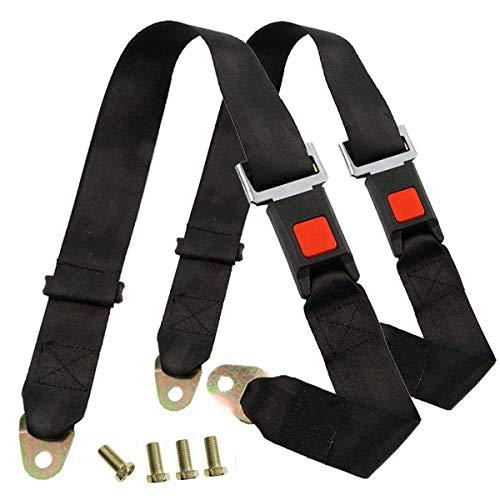 HugeAuto Cinturón de Seguridad Universal de Dos puntos, Kit de Cinturón de Seguridad de 2 Puntos para Go Kart, Cochecito, Carrito de Golf, Furgoneta, Autobús, Camión, Paquete de 2 (Negro)