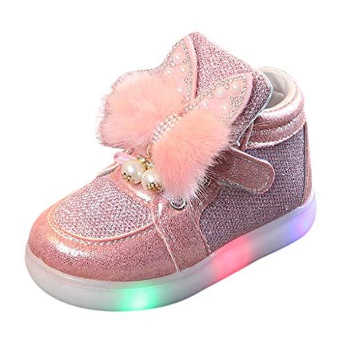 幼児用靴 女の子 小さな子供用 ファッションスニーカー ハイトップ ライトアップ LED かわいいシューズ US サイズ: 18-24Months カラー: ピンク