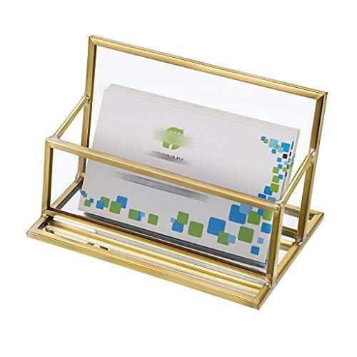 Hipiwe - Porta biglietti da visita in vetro, stile vintage, in metallo dorato 1 Slot