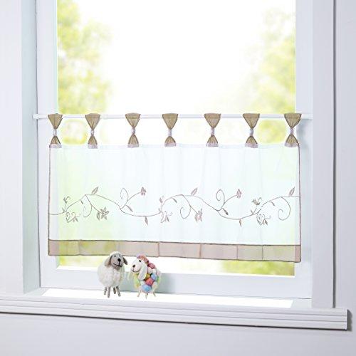 Joyswahl Scheibengardine Voile Bistrogardine Selina mit Blumen-Stickerei Muster Transparente Gardine HxB 45x120cm Sand 1er Pack