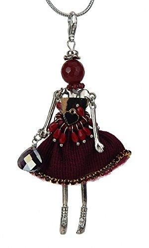Ella Jonte Lange Halskette Silber rot Püppchen Mannequin Strass Puppe Kette + Anhänger