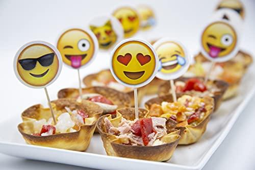 GreenBus Palillos para aperitivos de madera 18 unds (3 tipos) Emoji, Palillos de bambu desechables, Brochetas madera, Pinchos barbacoa