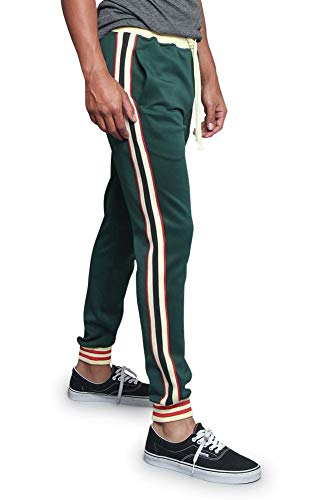 Men's Triple Tone G Striped Waistband Outseam Ankle Cuff Drawstring Premium Track Pants TR577 - Green - X-Large - F1G