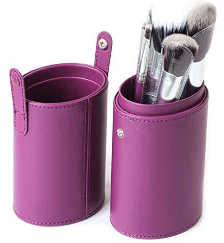 WOCTP Professionnel 12 Baril Brosses Multicolore Haut De Gamme PU Grand Cosmétique Couvercle De Seau Brosses Fibre Cheveux Seau Couvercle Brosses,Purple