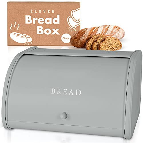 Farmhouse Bread Box for Kitchen Countertop, Large Bread Storage Container Metal Bin, Rustic Bread Container Keeper Vintage Kitchen Counter, Breadbox Holder for Extra Fresh White Bread Loaves Panera