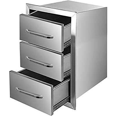 """Mophorn Outdoor Kitchen Drawers 16"""" W x 28.5"""" H x 20.5"""" D, Flush Mount Triple Access BBQ Drawers with Stainless Steel Handle, BBQ Island Drawers for Outdoor Kitchens or BBQ Island Patio Grill Station"""
