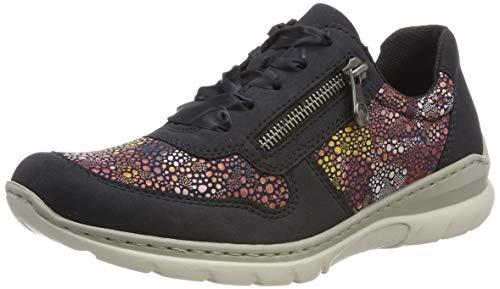 Rieker L3221-15, Zapatos de Cordones Derby para Mujer, Azul (Pazifik/Ozean/Flower 15), 40 EU
