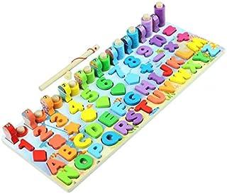 Tianbi Magnetiska pussel, 6-i-1 Magnetiskt fiskespel Trä Nummer Pussel sortering Matematikbräda Pedagogiska leksaker för s...