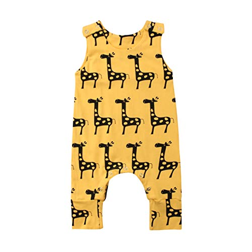 CQHY MALL Baby Girls Boys Cute Animal Print Romper Infant Solid Jumpsuit Clothes Sleeveless Bodysuit Outfits, 0-24 Months (0-6 Months, Giraffe Romper)