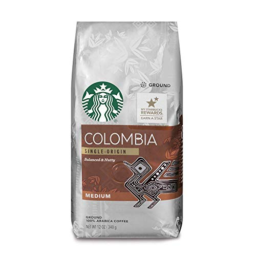 Starbucks Colombia Medium Roast Ground Coffee, 12 Ounce (Pack of 6)