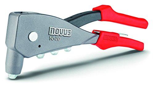 Novus Blindnietzange N-20, Einhand-Bedienung, Ergonomischer Griff, verarbeitet Alu-, Stahl- und Kupfer-Blindnieten, Nietenzange