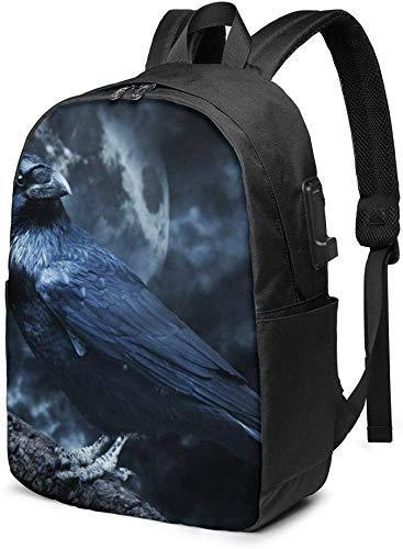 AOOEDM Scary Creepy Black Raven in Moonlight Zaino per laptop Zaini da viaggio d'affari da 17 pollici Zaini universitari con porta di ricarica USB