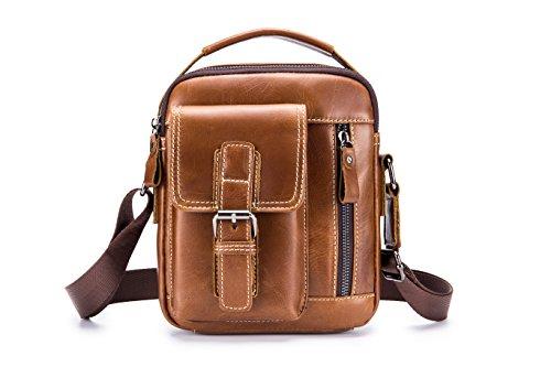 Herren Umhängetasche, Ledertasche Schultertasche, Handtasche, Aktentasche, Laptoptasche Schultasche,Popoti Multifunktional Wasserdicht Leder Vintage Messenger Bag,22cm (Hellbraun)
