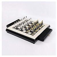 チェスセットチェス高級木製チェスボードセットクリエイティブ亜鉛合金ペイントチェスの駒リビングルームクラフトギフト装飾ボードGa(レジャーパズルファミリーエンターテインメント)