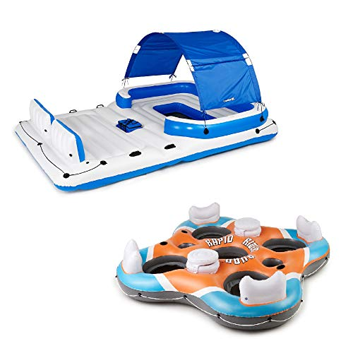 Bestway CoolerZ Tropical Breeze 6 Person Floating Island with 4 Person Island