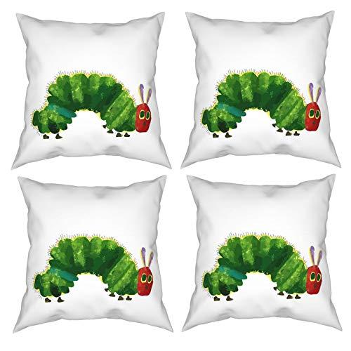 Sunzhenyu The Very Hungry Caterpillar - Juego de 4 fundas de almohada decorativas de 20 x 20 cm, fundas de cojín cuadradas, fundas de cojín para sofá, sala de estar