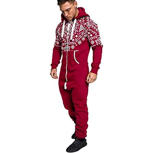 Herren Onesie Jumpsuit Hooded Zip Up Spielanzug Pyjama mit Taschen Einteiliges Kleidungsstück Schlafanzug Weihnachts Hoody, rot, XXL