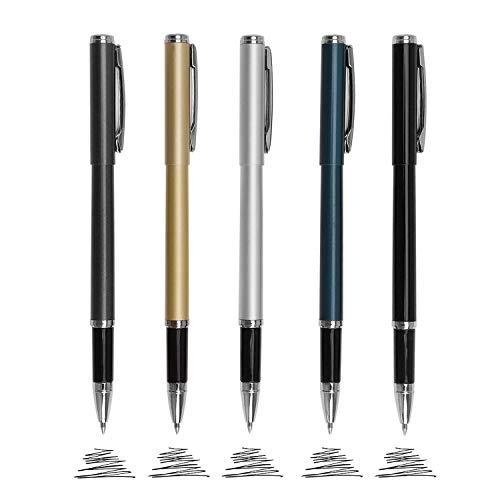 Metal Ballpoint Pens, 0.5mm Fine Point Liquid Gel Ink Pen Roller Pen, Black Ink Roller Ball Pens Writing Set for Business Executive Office Supplies