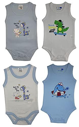 4 Body sin mangas de verano para bebé de algodón – Paquete de 4 Combinación 4 3-6 meses