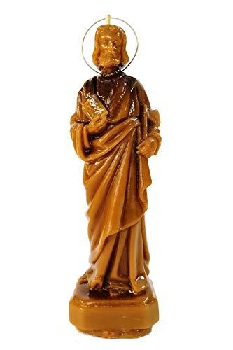 Candle Art Vela San Judas Tadeo Abogado de lo Imposible, Cera de Abeja con Plantas, RITUALIZADA
