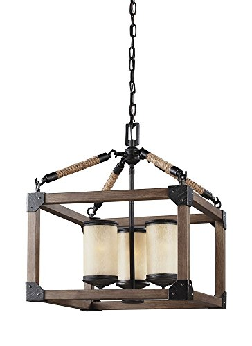 Sea Gull Lighting 3113303-846 Dunning - Three Light Chandelier, Stardust Finish with Creme Parchment Glass