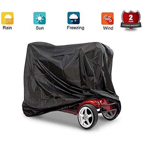 Mobility Scooter Cover, Professional Mobility Scooter Storage Cover Wheelchair Waterproof Rain Protection Black, Durable for Long Time Use