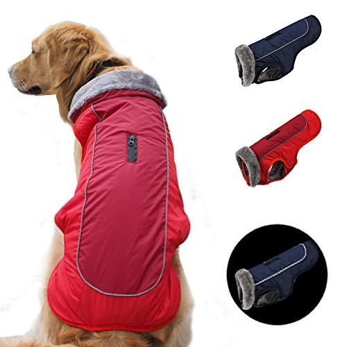 SCPET Hunde-Wintermantel, gemütlich, wasserdicht, winddicht, Wintermantel, warme Hundebekleidung für kaltes Wetter, Hundejacke, XS-3XL (XL: Brustumfang 70 - 75 cm, Halsumfang 43 cm, Rot)