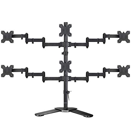 suptek Hex LED LCD Monitor Stand up Free-Standing Desk Stand Extra Tall 31.5' Pole Heavy Duty Fully Adjustable Mount for 6 / Six Screens up to 27 inch (ML68126)