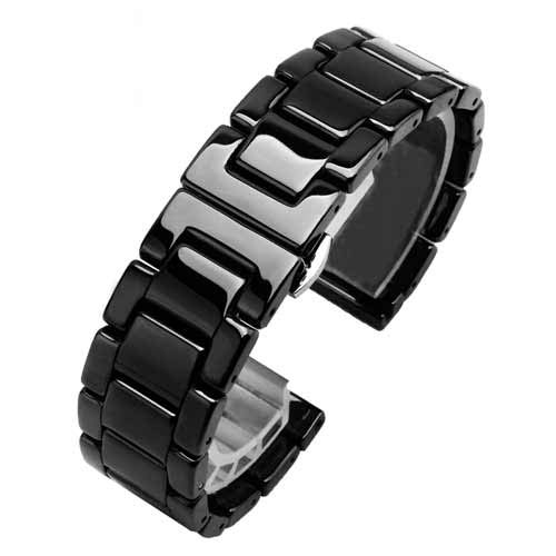 Xnhgfa Superior de cerámica Pulsera Correa de Reloj de reemplazo en Hebilla desplegable de Acero Relojes para Regalo Mujeres Hombres Hebillas Pulsera Watchband,Negro,18mm