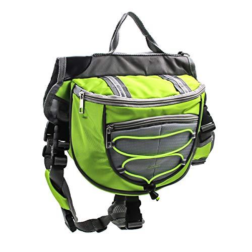 Bolso de la Silla de Montar de la Mochila de Las alforjas del Perro casero del Animal doméstico para Caminar Que acampa del Viaje (Color : Green, Size : L)
