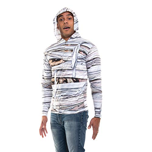 FauxReal Men's Halloween 3D Photo-Realistic Long Sleeve Zip Hoodie, Mummy, X-Large