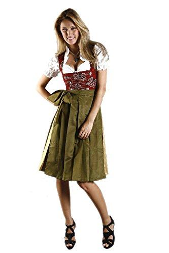 Edelnice Trachtenmode Midi Dirndl 3-TLG. Larissa inkl. passender Bluse und Schürze Gr. 32-54 (38)