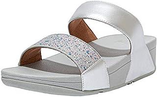 FitFlop Women's Lulu Glitter Splash Slides Sandal, Silver, 9