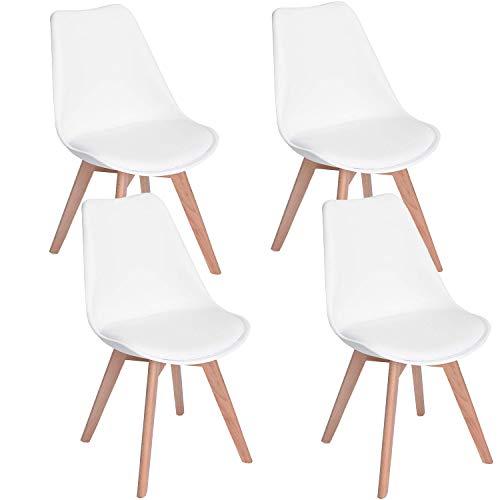WAFTING 4er Set Esszimmerstühle Gepolsterter Seitenstuhl mit Buchenholz-Beinen und Weich Gepolsterte Tulip Chair für Esszimmer Wohnzimmer Schlafzimmer Küche, 4er Set (Gepolstert Weiß)