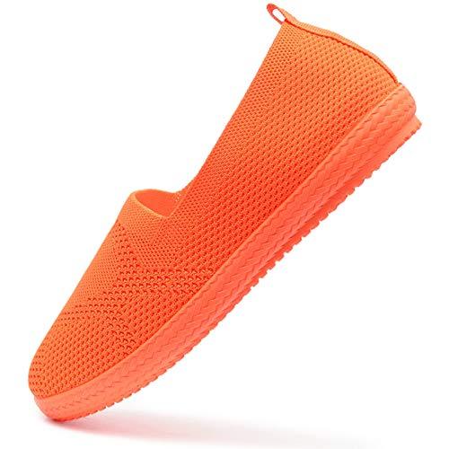Vain Secrets Damen Sommer Slipper Ballerina sportliche Espadrilles Sneaker Freizeit Schuhe in 5 Farben (M3 Neon Orange, 38)