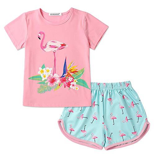 Einhorn Pyjama für Mädchen Pjs Sets Kurzarm Sommer Schlaf Nacht Shirt Kleidung