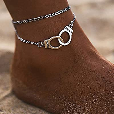 Dresbe Boho Layered Anklet Silver Handcuffs Anklets Beach Ankle Bracelet Fashion Foot Jewelry Chain for Women and Girls