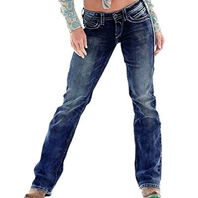 HOSDWomen Long Casual Skinny Jeans Women Basic Class Mid Waist Buttons Jeans Pencil Denim Pants Blue by HOSD