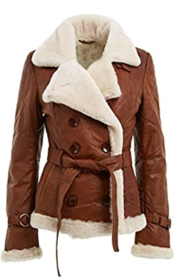 Women's Tan Double Breasted Real Shearling Sheepskin Leather Pea Coat (M)