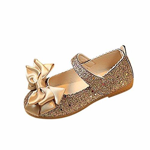 FNKDOR Mädchen Sandalen Prinzessin Flache Tanzschuhe Mary Jane Ballerinas Kinder Schuhe(26 EU(27CN) 16.2CM,Gold)