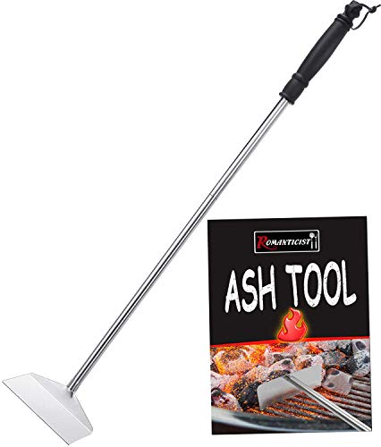 """ROMANTICIST Heavy Duty Stainless Steel Ash Tool Rake with 24"""" Long Rubber Handle for Big Green Egg Kamado Joe and Other Charcoal Grills - Wood Burning Stove Charcoal Pellet Poker Grilling Accessories"""