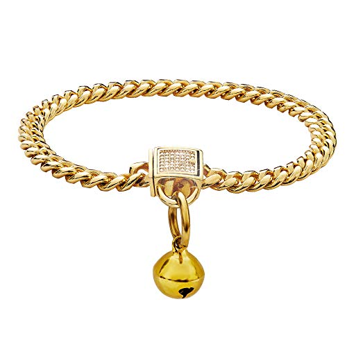 Gold Cat Collar with Bell and Ice-Out Cubic Zirconia Stones Secure Buckle 18K Metal Stainles Steel Cuban Link Chain 6MM Walking Training Choke Collar. (6MM, 12')