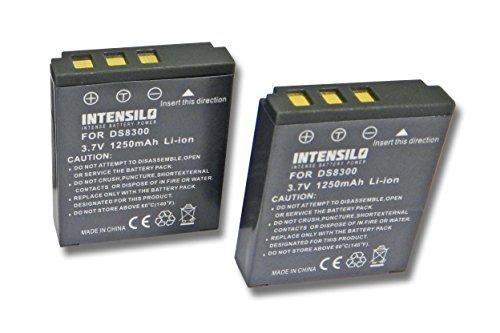 INTENSILO 2X Li-Ion Akku 1250mAh (3.7V) für Kamera Camcorder Video Voigtländer Virtus D8, D800, W7 wie DS8330-1, BATS8, BLI-315.