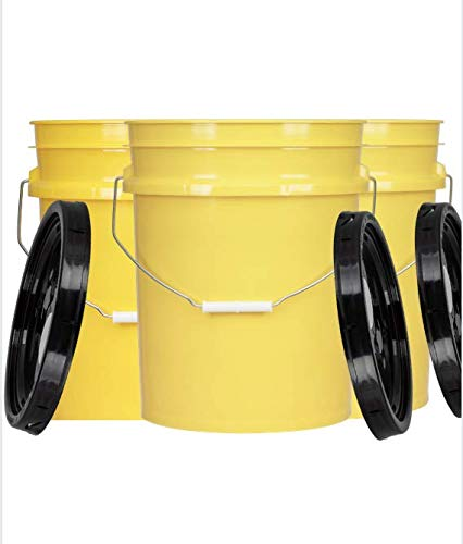 House Naturals 5 Gallon Yellow Food Grade Bucket with Black Gasket Spout Lid- BPA Free (Pack of 3) Made in USA