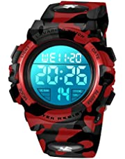 子供腕時計 デジタル腕時計 ボーイズスポーツウォッチ アウトドア多機能50m防水 アラート 日付曜日表示 デュアルタイム LED アナログ表示