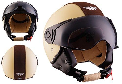 Moto Helmets H44 - Helmet Casco de Moto , Beige/Marrón, L (59-60cm)