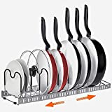 Expandable Pot and Pan Organizers Rack, AHNR 10+ Pans and Pots Lid Organizer Rack Holder, Kitchen Cabinet Pantry Bakeware Organizer Rack Holder with 10 Adjustable Compartments (Grey)